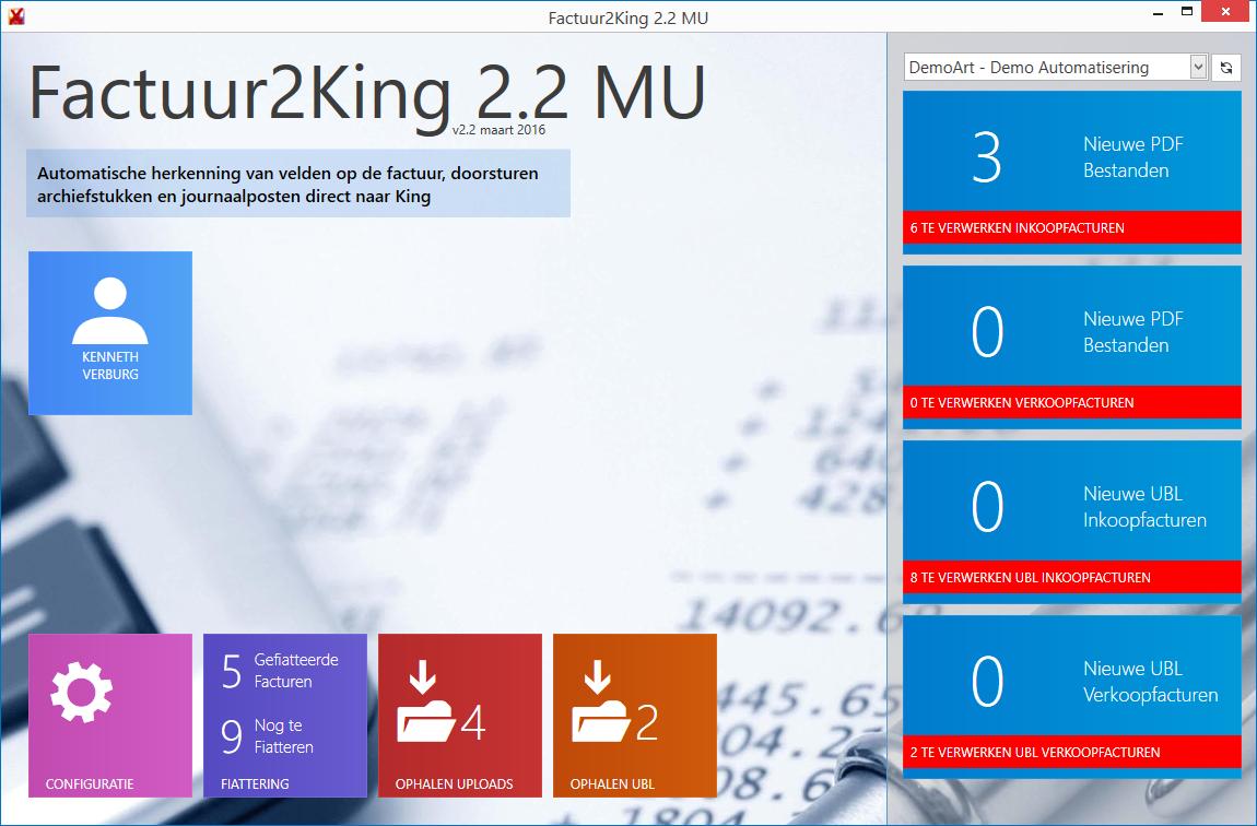 Factuur2King 2.2 Startscherm