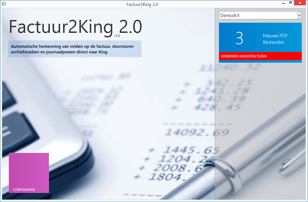 Factuur2King 2.0 dashboard